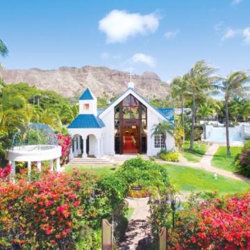 大阪のサプライズプロポーズ Diamond head Anela Garden Chapel ハワイ