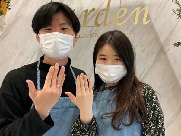 京都市・上京区|手作りペアリング(指輪)を作成いただきました