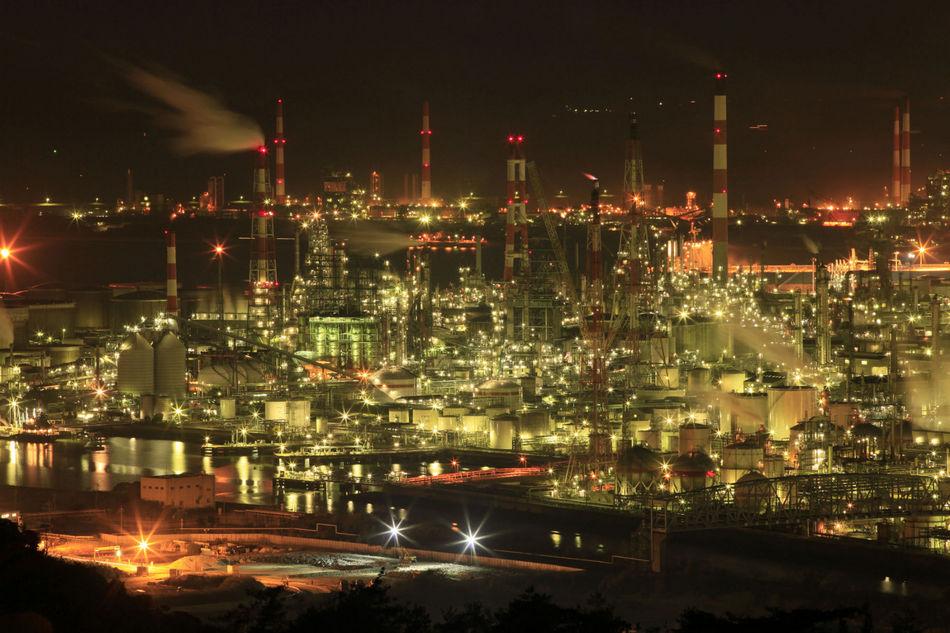 水島コンビナート工場夜景